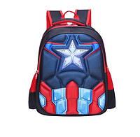 Рюкзак детский ортопедический школьный портфель женский мужской Капитан Америка с небольшим браком
