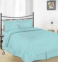 Простынь на полуторную кровать Вилена бязь Голд Горох на голубом размер 145х220