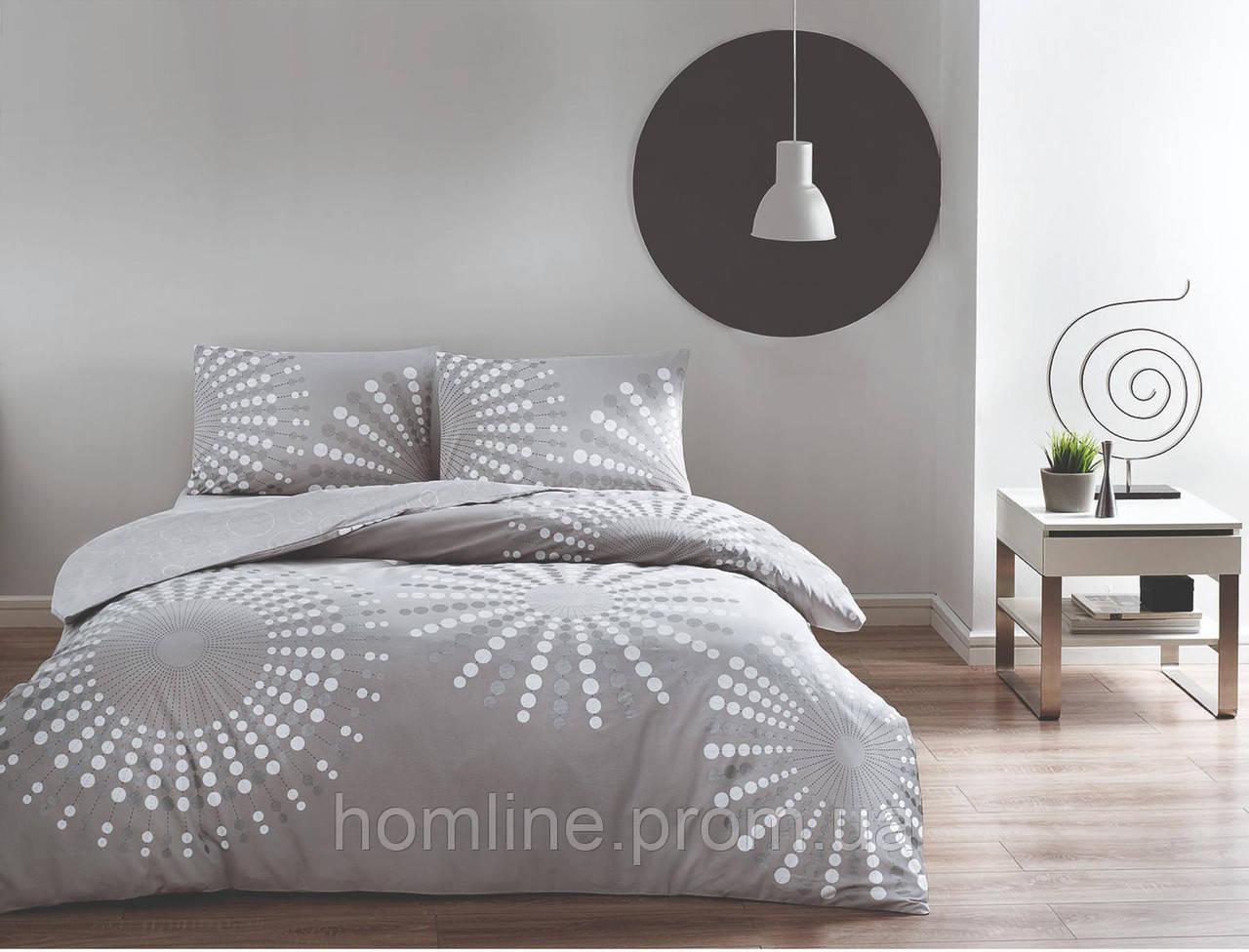 Постільна білизна Tac ранфорс Moon gri v01 сірий двухспального євро розміру