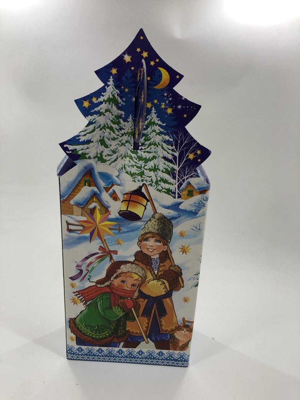 Новогодняя подарочная картонная упаковка 400 грамм Рождество