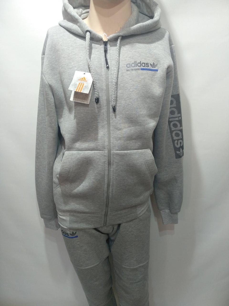 Мужской теплый спортивный костюм Adidas адидас светло серый