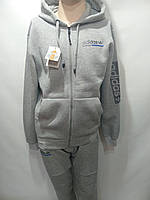 Мужской теплый спортивный костюм Adidas адидас светло серый, фото 1