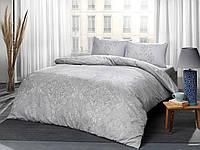 Постельное белье Tac ранфорс Mirabel gri v01 серый двухспального евро размера