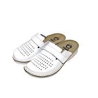 Женские кожаные тапочки White 160102 Mubb