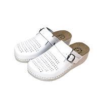 Женские кожаные тапочки White 180101 Mubb