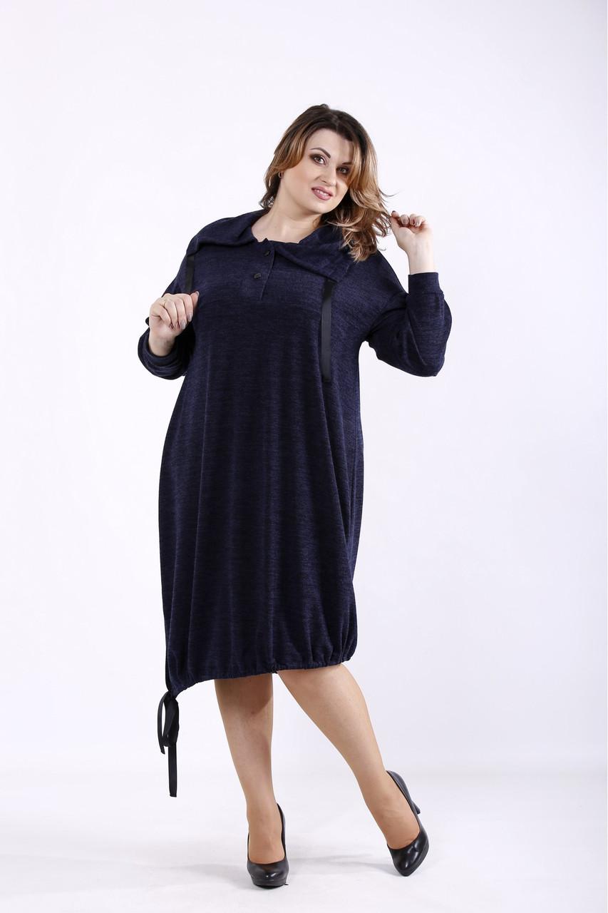 Оригинальное синее платье женское трикотажное большого размера 42-74. 01315-2