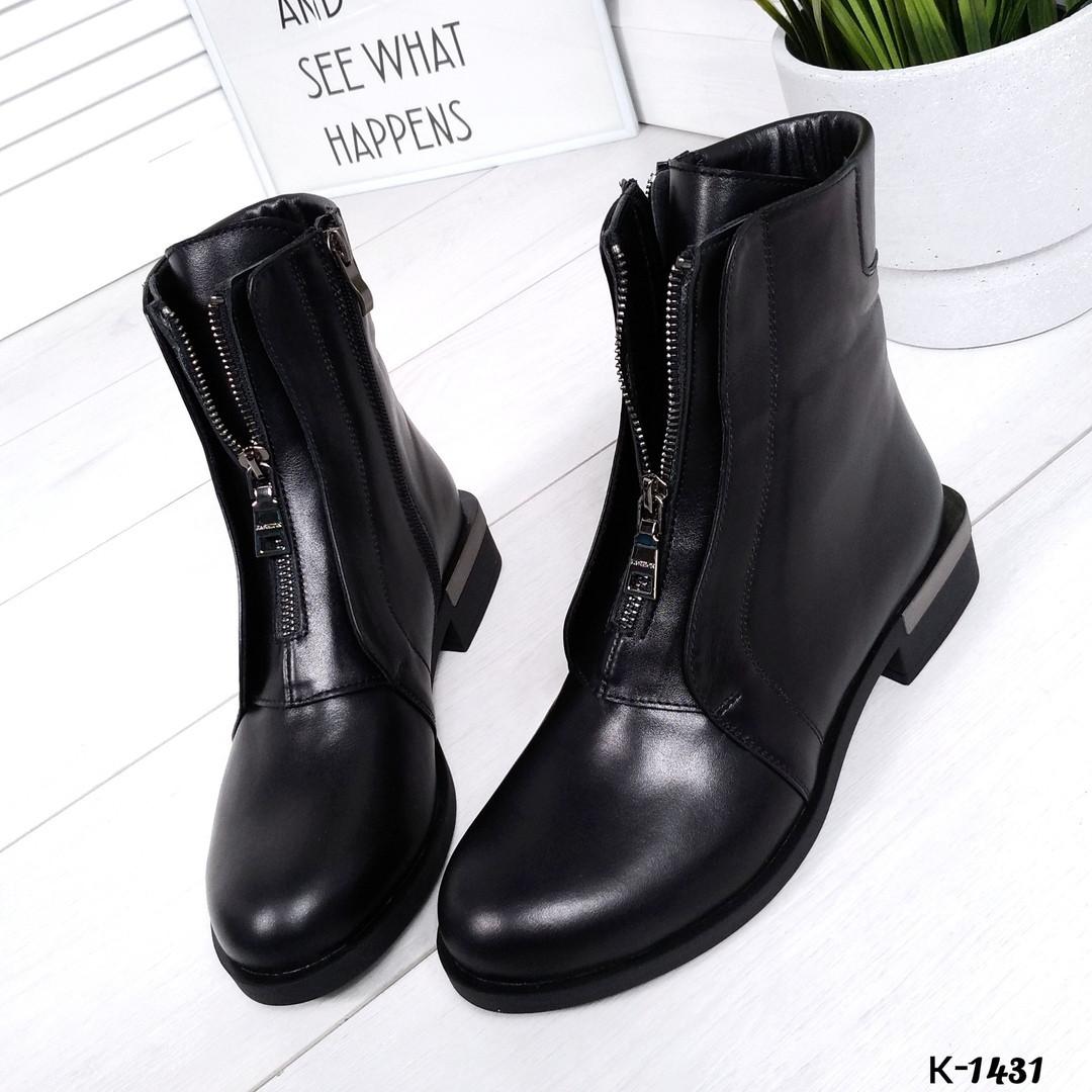 Ботиночки на оригинальном каблуке - Olive материал: натуральная кожа