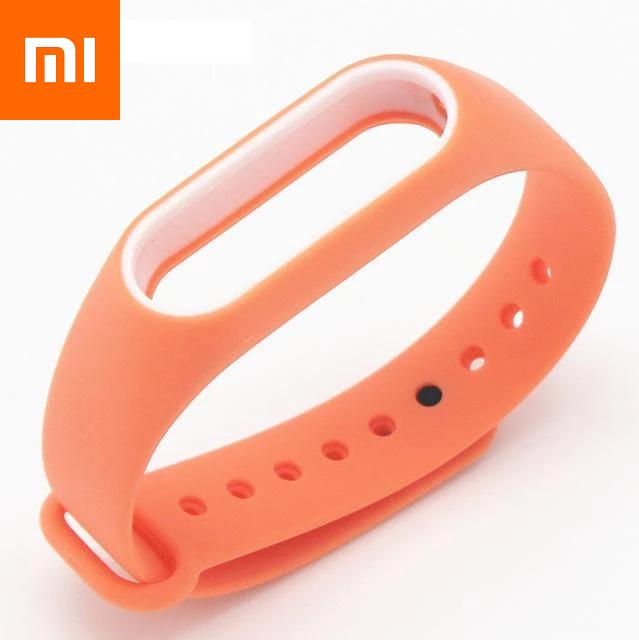 Ремешок для Xiaomi Mi Band 4 Оранжево-Белый Оригинальное Качество