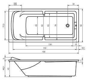 Ванна Riho Calgary пряма 190x90 см + ніжки (BA14), фото 2