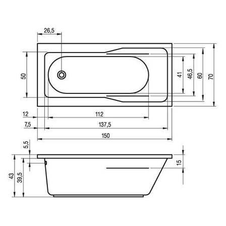 Ванна Riho Klasik пряма 150*70 см + ніжки (BZ22), фото 2
