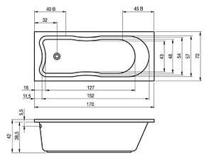 Ванна Riho Klasik пряма 170*70 см + ніжки (BZ19), фото 2