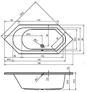 Ванна Riho Alberta шестигранна 190x80 см + ніжки (BA31), фото 2