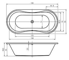 Ванна Riho Lugano окремостояча 190*90 см + ніжки (BA78), фото 3