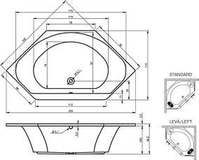 Ванна Riho Sydney шестигранна 145*145 см + ніжки (BA95), фото 3