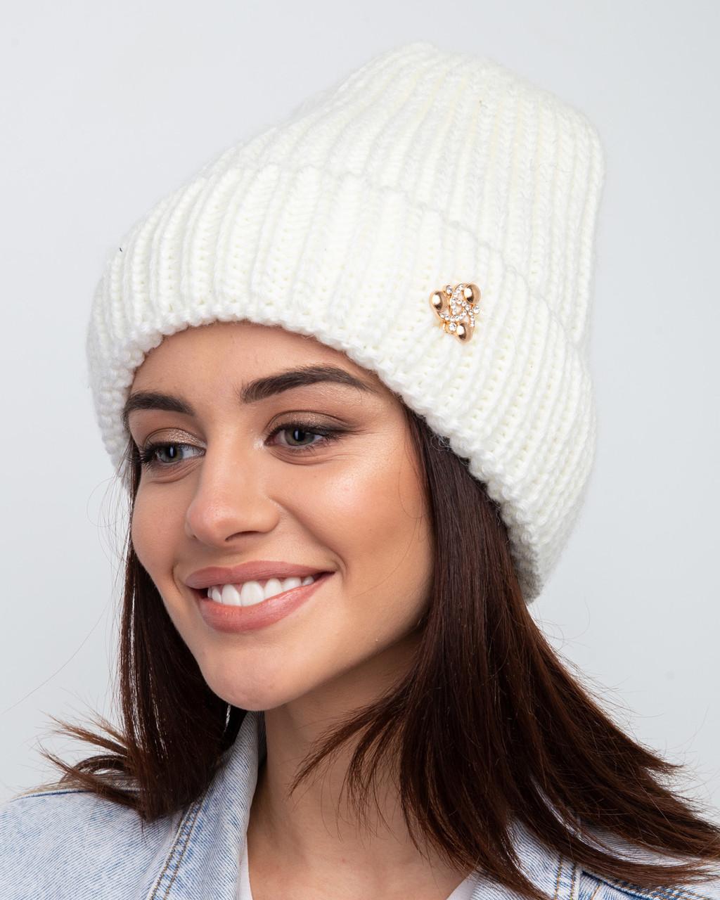 Вязанная зимняя женская шапка с отворотом - Арт 2482