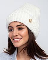 Вязанная зимняя женская шапка с отворотом - Арт 2482, фото 1
