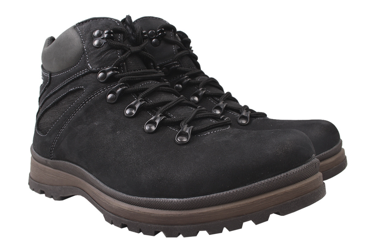 Ботинки мужские зимние Samas нубук, цвет черный, размер 40-44
