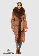 Пальто плащ стеганое длинное зимнее с опушкой из чернобурки шоколад