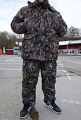 Теплый  Костюм для рыбалки и охоты  камуфляж темный камыш  усиленный,непродувемый,непромокаемый с