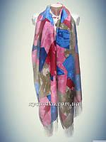 Кашемировые шарфы мозаика, розовый