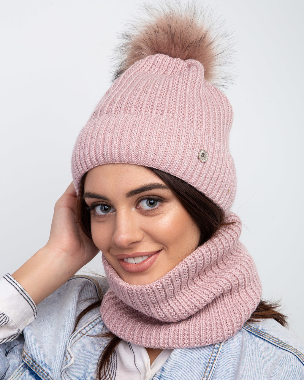 Зимний женский комплект (шапка + хомут) на флисе с помпоном  - Арт 2457