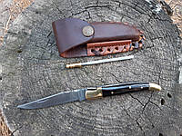 Нож складной  из дамасской стали+ точилка ручная работа ,эксклюзив(Рог буйвола) с