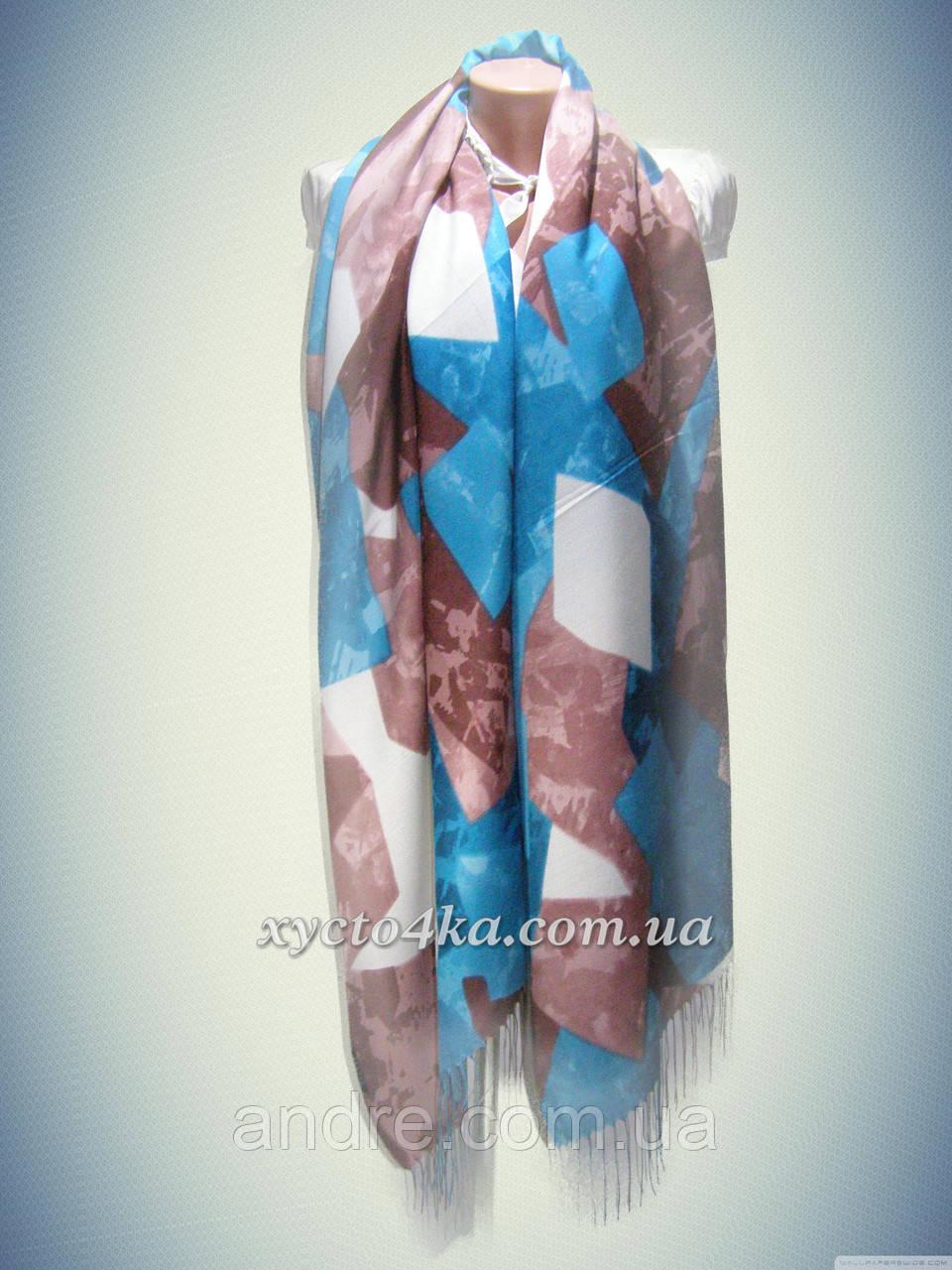 Кашемировые шарфы мозаика, бирюзовый