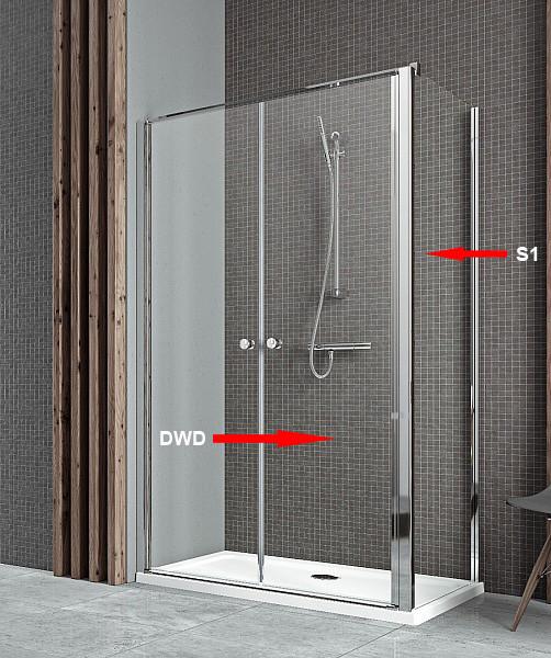 Двері для душової кабіни Radaway Eos II DWD+S 110, прозоре (3799493-01)