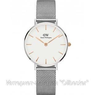 Часы серебристые женские в стиле Даниель Веллингтон, циферблат 32 мм
