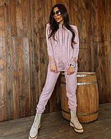 Пудровый женский вязаный костюм с ажурным свитером, фото 1