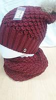 Комплект шапка с натуральным помпоном и хомут ХЕЛЕН ЕНОТ малиновый