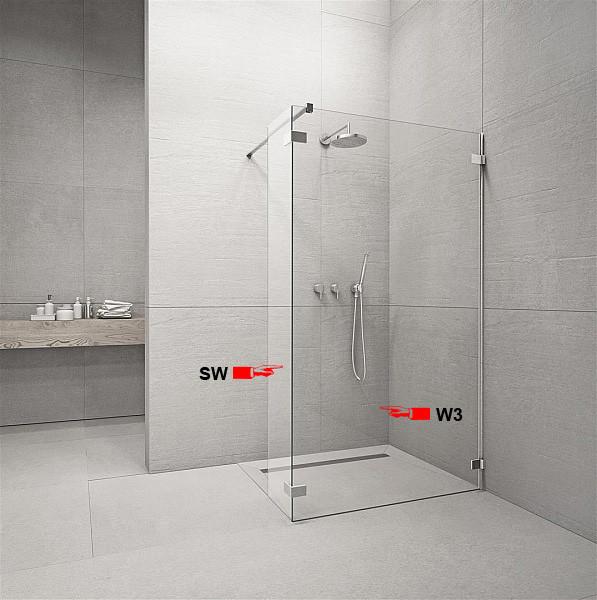 Фронтальна частина душової кабіни Radaway Euphoria Walk-in W3 90 (383131-01-01)
