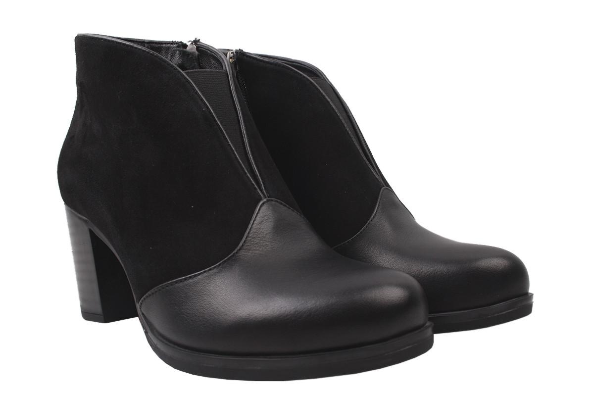 Ботинки женские зимние Kesim натуральная кожа + замш, цвет черный, размер 36-40, Турция