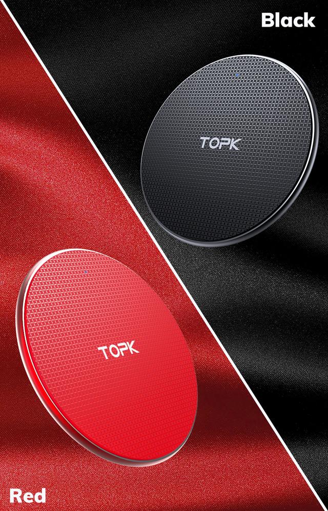 беспроводное зарядное устройство Topk Wireless Charger B01W Черное Красное