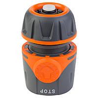 Конектор швидкознімний аквастоп 1/2 для шлангу 1/2 ФЛОРА 5015494