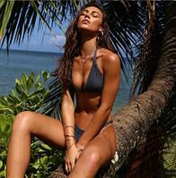 Модный купальник бикини пепельно-синий размер Л, фото 1