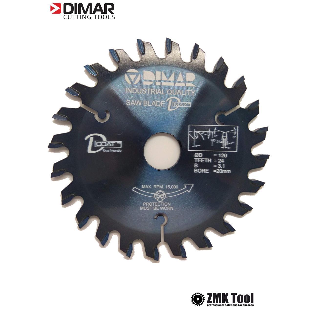 Подрезная пила DMAR DVK 125 24Z 3.1/4.3 d20 коническая однокорпусная с покрытием D-COAT