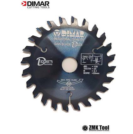 Подрезная пила DMAR DVK 125 24Z 3.1/4.3 d20 коническая однокорпусная с покрытием D-COAT, фото 2