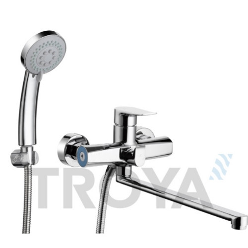 Смеситель для ванны Troya FOB7 (FOB7-A134 ) однорычажный с длинным изливом цвет хром,смеситель Троя