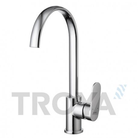 Смеситель для кухни Troya LOB4 (LOB4-A128) однорычажный с высоким изливом цвет хром,смеситель Троя