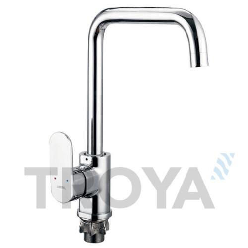 Смеситель для кухни Troya LAB4 (LAB4-A136) однорычажный с высоким изливом цвет хром,смеситель Троя