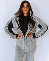 Теплый и стильный женский  вязаный костюм-тройка, фото 1
