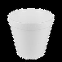 Супница Пенополистирол 570мл. (25шт/рукав) Высота 10,5 см, Диаметр:низ-7,5 см, верх-11,3 см(1ящ/20шт), фото 1