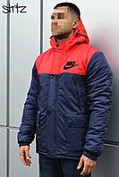 Зимняя комбинированная мужская парка-куртка с капюшоном, чоловіча зимова парка Nike, Реплика
