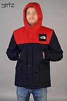 Зимняя комбинированная мужская парка-куртка с капюшоном, чоловіча зимова парка The North Face, Реплика