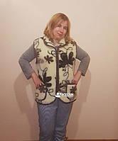 Жилетка женская из шерсти мериносовой овчины Eluna /цветок/ 48 размер (L)