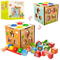 Деревянная игрушка Игра MD 1082 (48шт) куб,ксилофон,лабиринт,сортер,стучалка,в кор-ке,15-14-15см