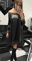 Платье женское из эко-кожи батал  впр1186-1, фото 1