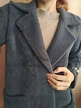 Пальто кардиган альпака - лама универсальный размер темно-синий джинсовый с бусинами на рукавах, фото 2