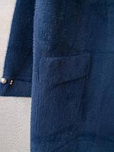 Пальто кардиган альпака - лама универсальный размер темно-синий джинсовый с бусинами на рукавах, фото 3